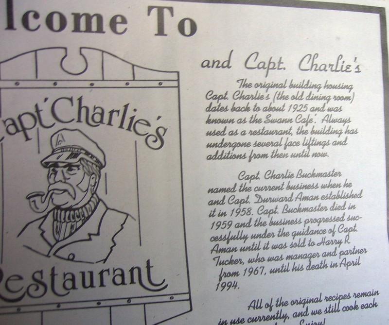 Capt Charlie's Restaurant menu
