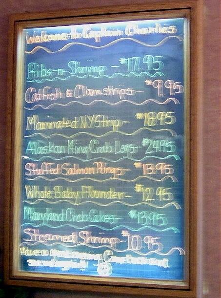 Cap'n Charlies' specials board