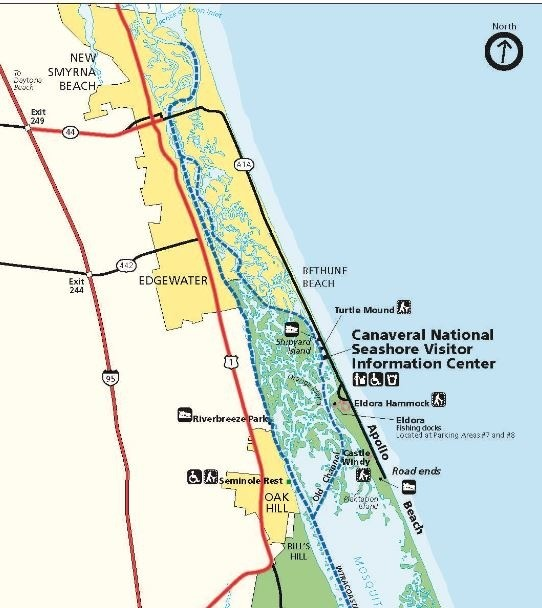 Northern part of Canaveral National Seashore in Green