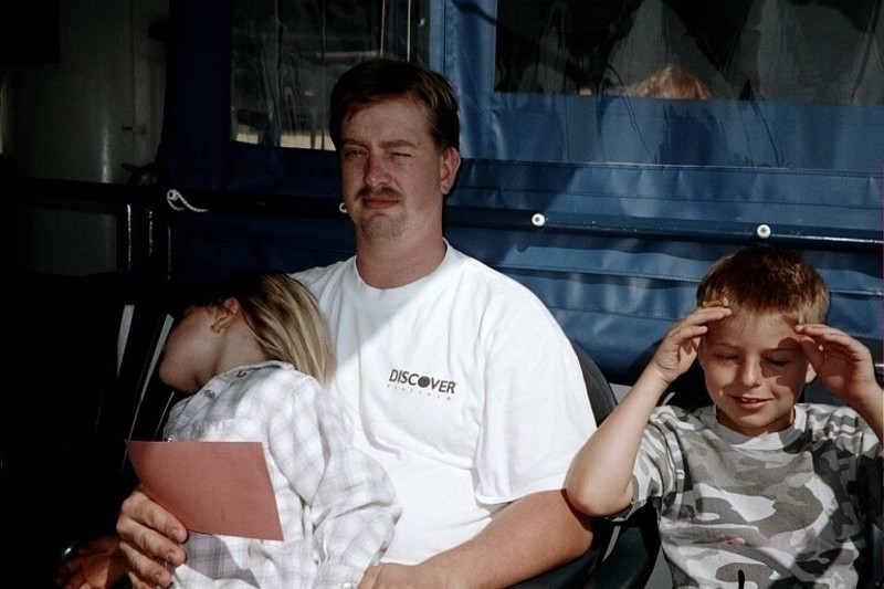 Son and grandchildren on the ferry