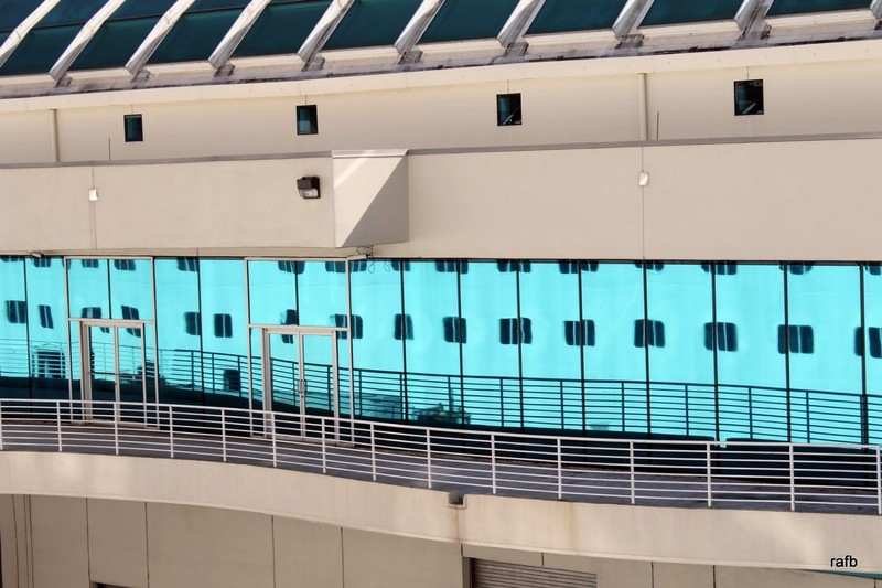 Pride reflected in the dock area at Port Canaveral