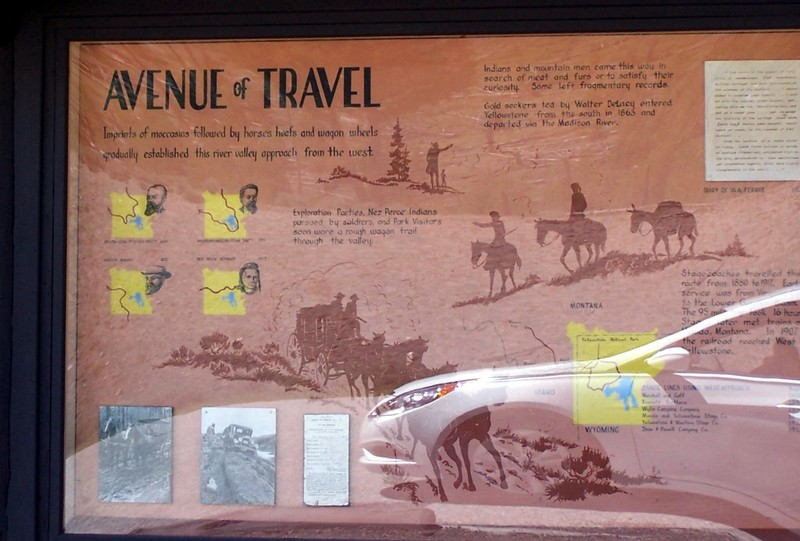 Informational sign about the travels of Indians and Mountain Men in the river valley