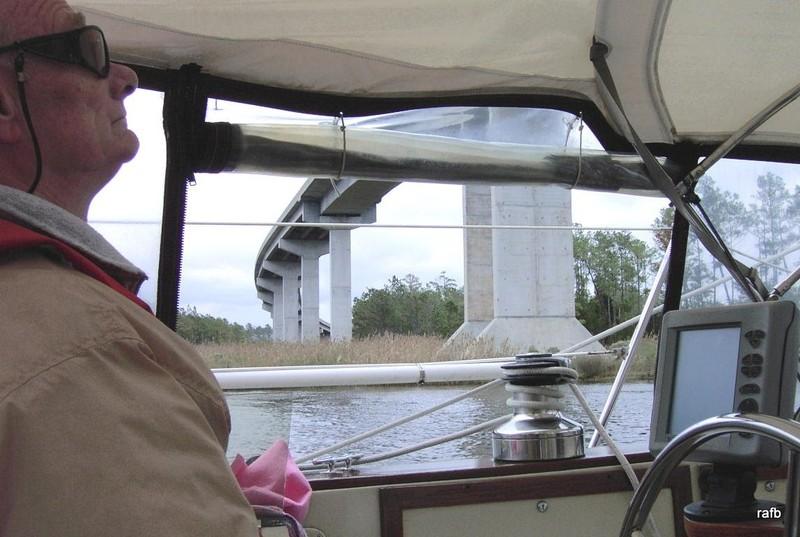 Bob going under the Hobucken bridge