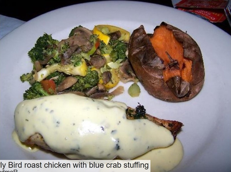 Roast chicken with blue crab stuffing from the early bird for $12.99