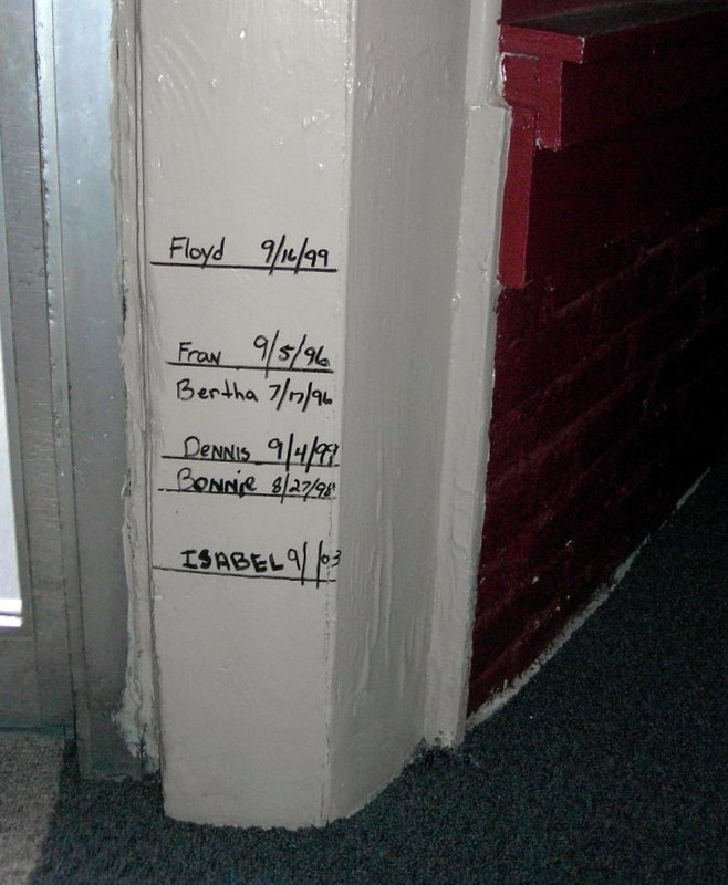 High water marks in the Helmsman from the hurricanes