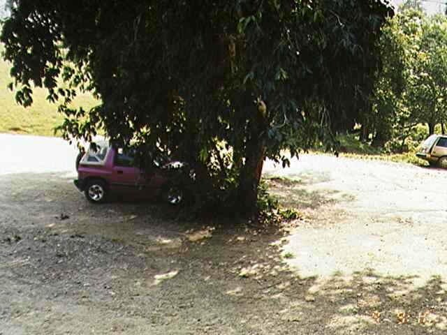 Our car parked in the shade