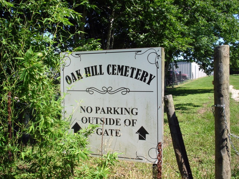 Oak Hill sign on the first gate