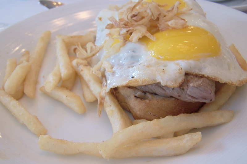 Openfaced steak and egg sandwich