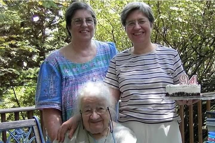 Me, my sister and my mom with her 94th birthday cake