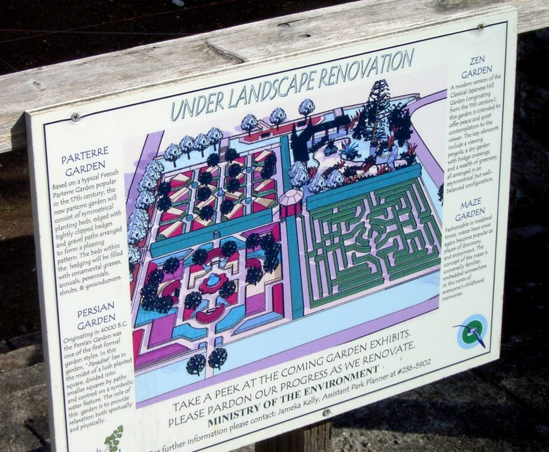 Botanical Garden sign about Landscape Renovation