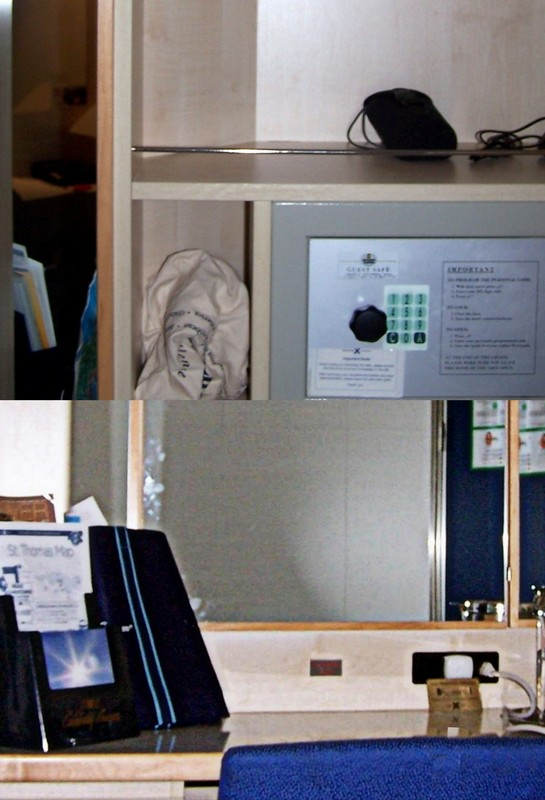 Collage showing the Safe behind the desk mirror -- bottom mirror closed, top mirror open