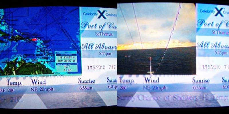Collage of the TV channel from St. Thomas - on the left the chart.  On the right the bow camera