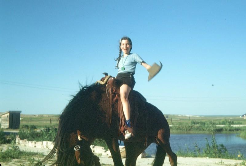 """Riding"" a bronc"