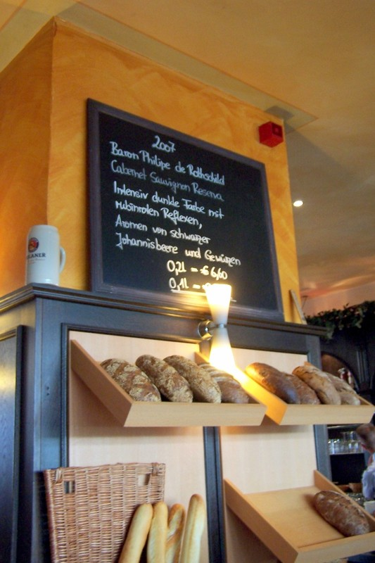 Bread and I think the board has the wine list