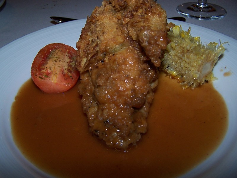 Buttermilk fried chicken and mashed potatoes and roasted corn