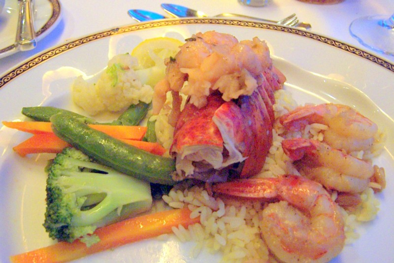 Surf and Turf with no Surf - only lobster tail with jumbo shrimp