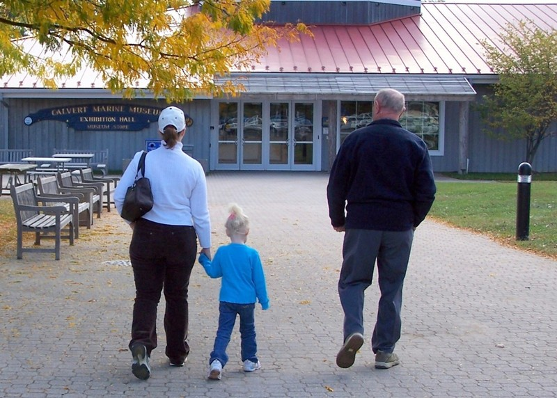 E, our granddaughter and Bob walking in