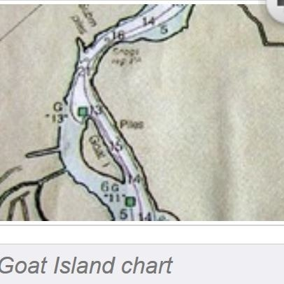 Goat Island Chart with the magenta line marking the ICW