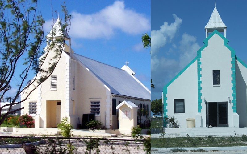 Holy Cross 2008 on right 2016 on left