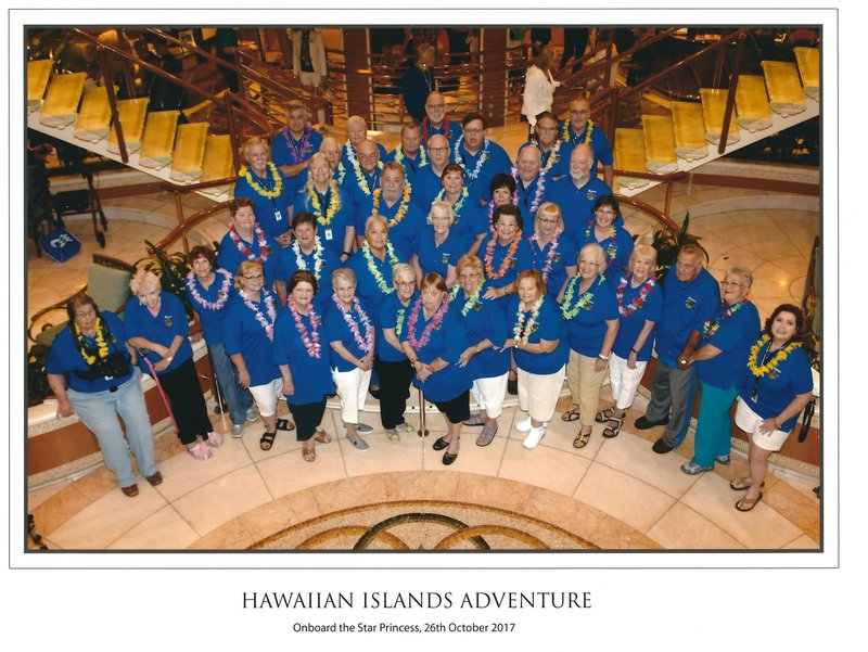 I'm on the far left, Lori with the pink hair is next to me.  Becca, George's wife is on the far right - white shorts and yellow lei. George is in the back center in the blue lei, and Polly is in front of him on the right-you can just see her face