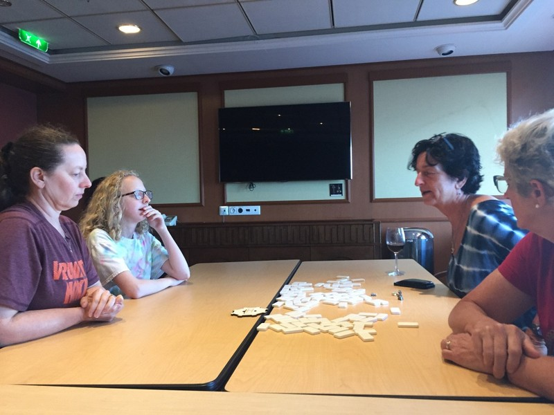 Granddaughter's photo of Mexican train dominoes in Conference room B