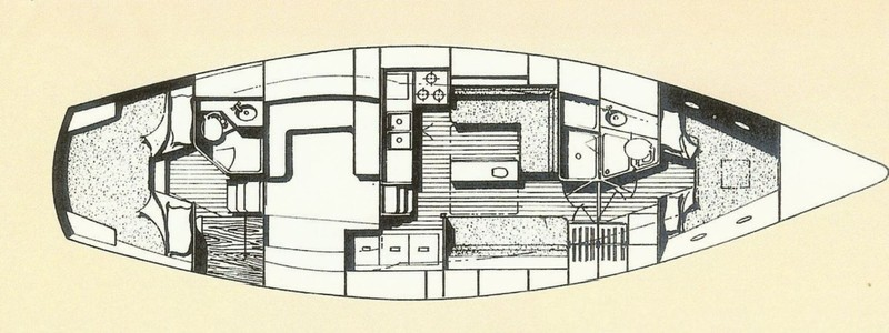 Layout showing the V-berth at the front, the cockpit in the middle (white area) and the aft cabin on the left