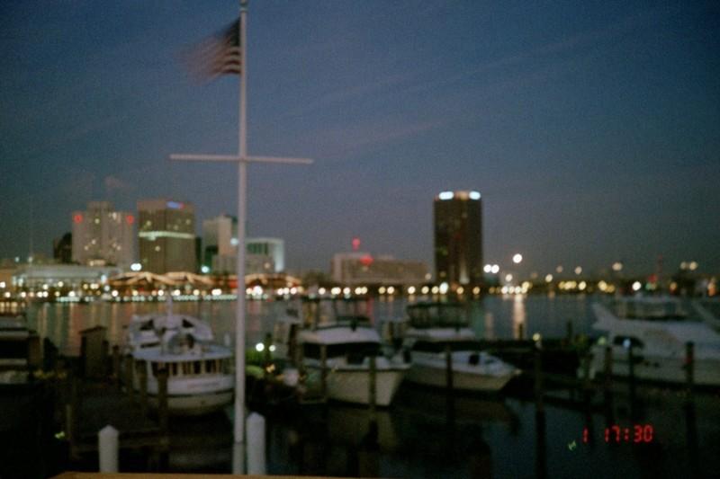 Norfolk from the marina at night