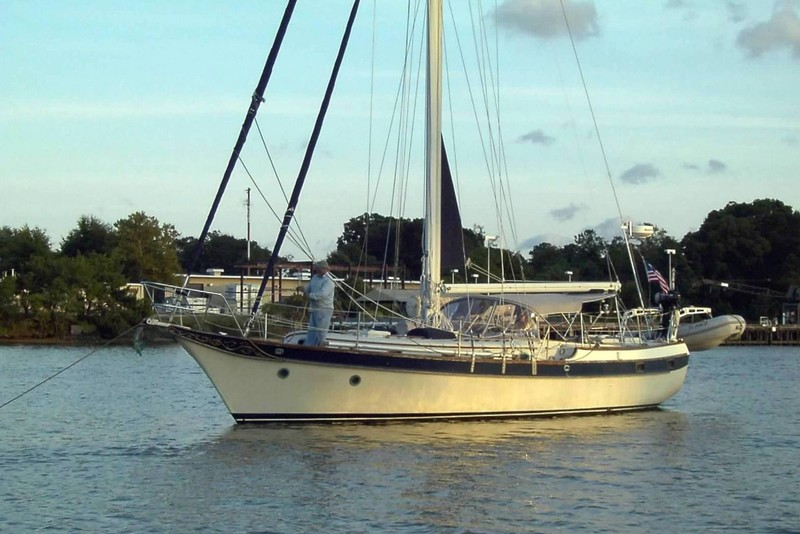 Windstar anchored with Charlie on the bow