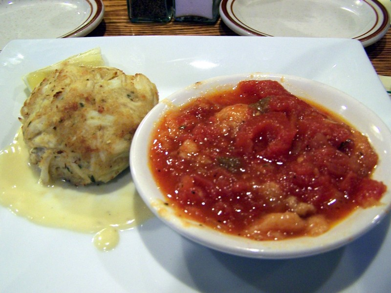 Crab cake with two sides special (with stewed tomatoes)
