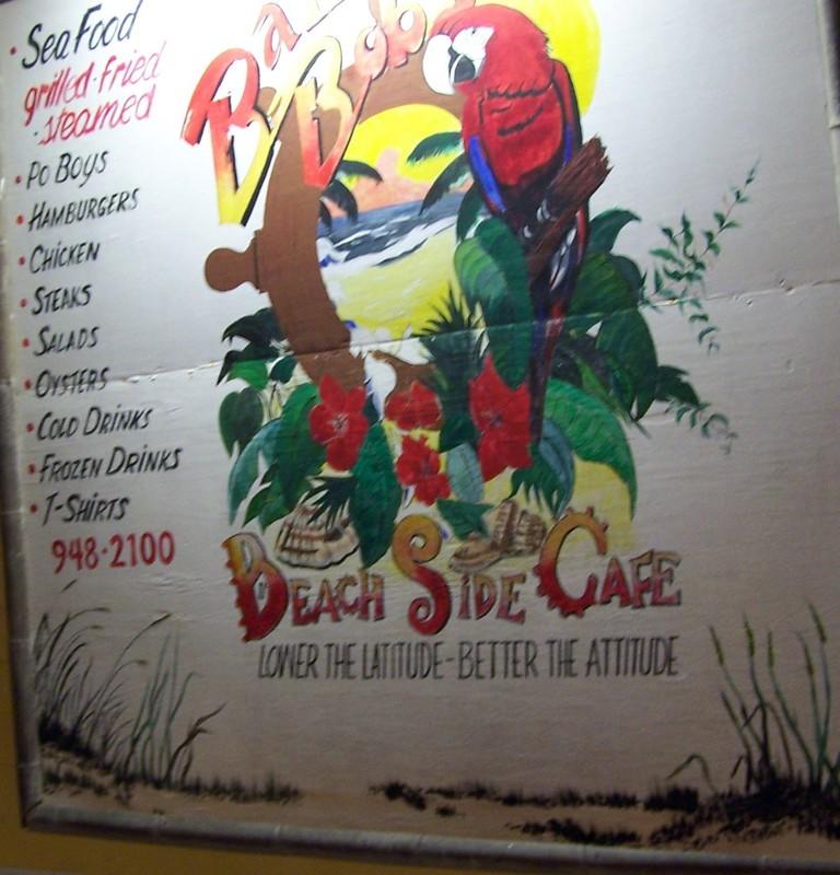 Sign outside Bahama Bob's Beachside Cafe