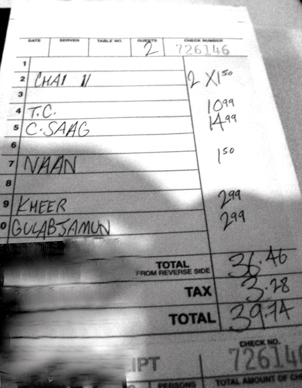 Indian restaurant bill