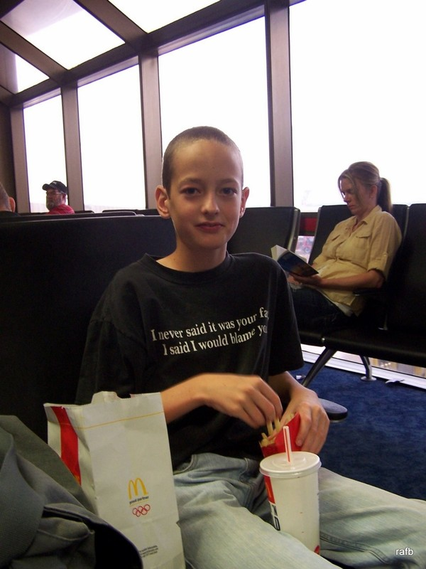 J eating lunch in the airport