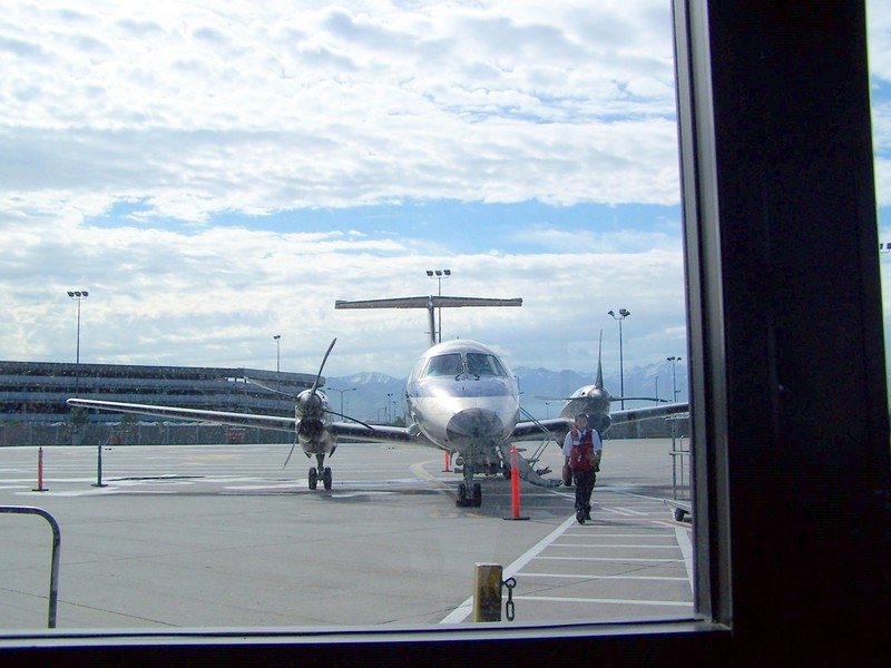 Our plane from inside the airport