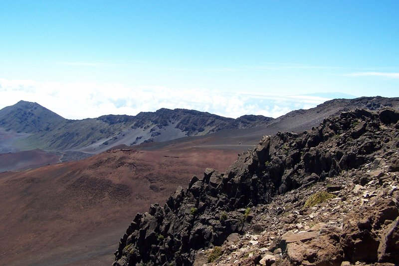 Looking across the crater