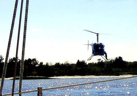 Helicopter right over the river