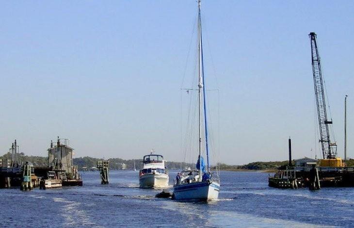 Looking back at the pontoon bridge