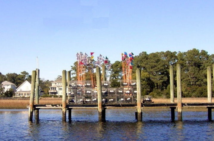 Crab traps with colorful flags