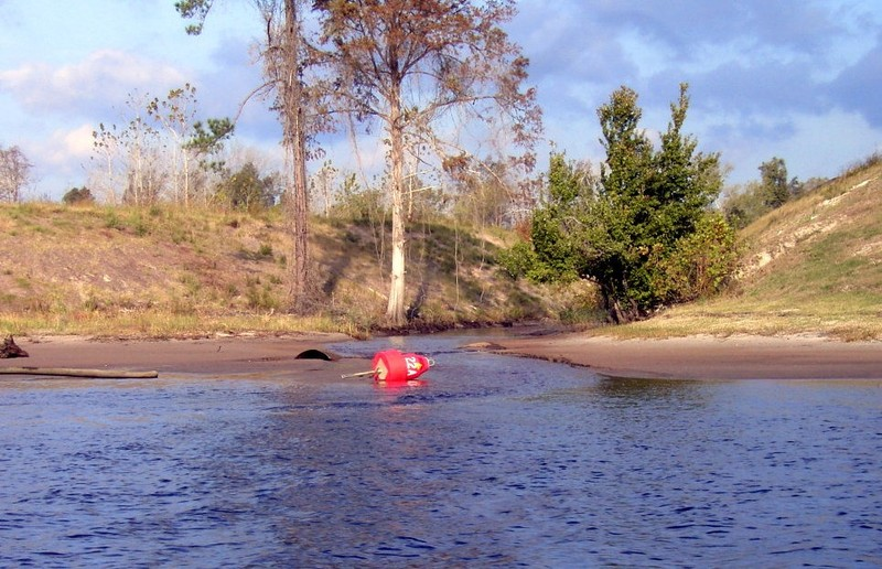 Red floater up on shore