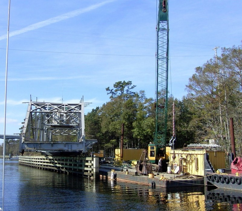 Construction barge and the partly open Socastee Bridge