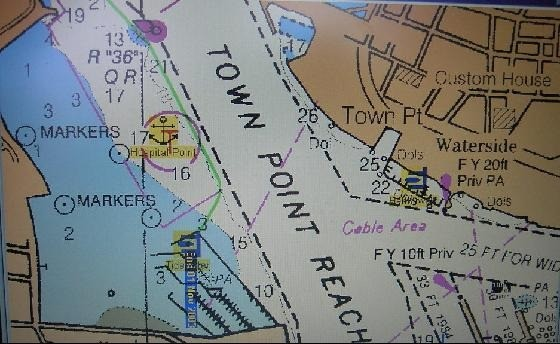 Chart with anchorage and marina