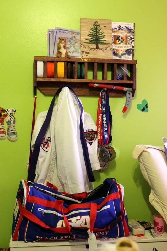 Youngest granddaughter's taekwondo belts and equipment