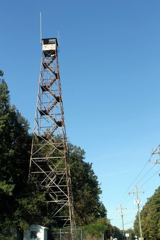 Fire tower next to the gas station