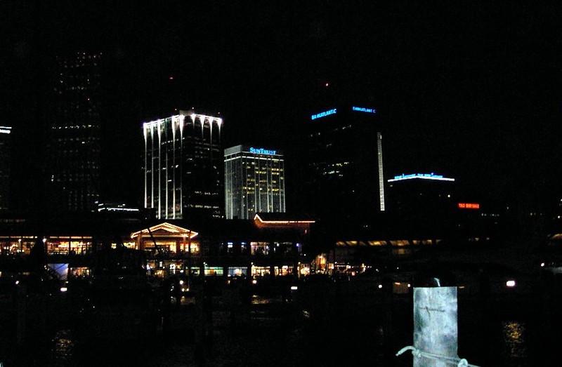 Miami at night from the marina