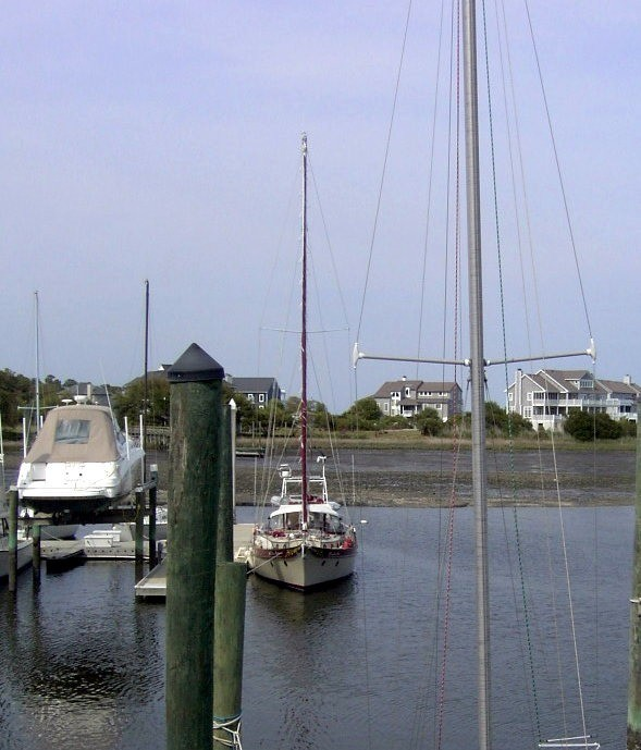 Our boat at the dock in Masonboro Marina from the second deck of the clubhouse