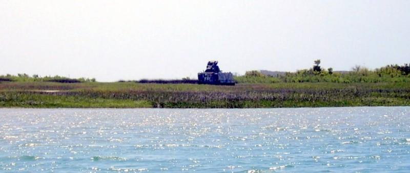 Military equipment on shore