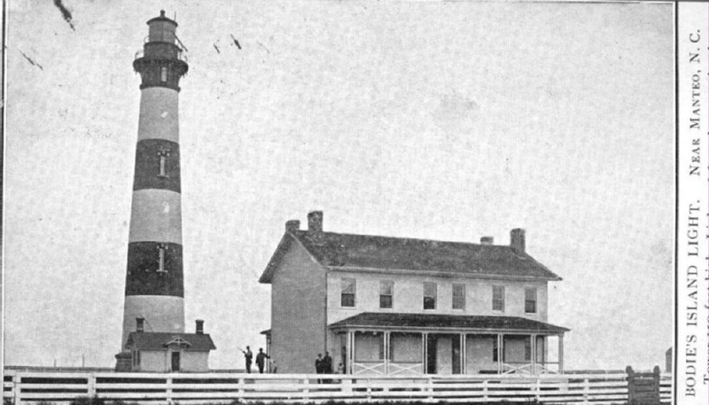 Antique postcard of Bodie Island Lighthouse