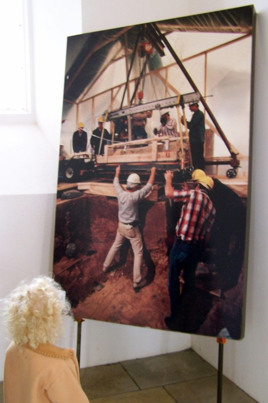 Photo on display of finding the lead coffin