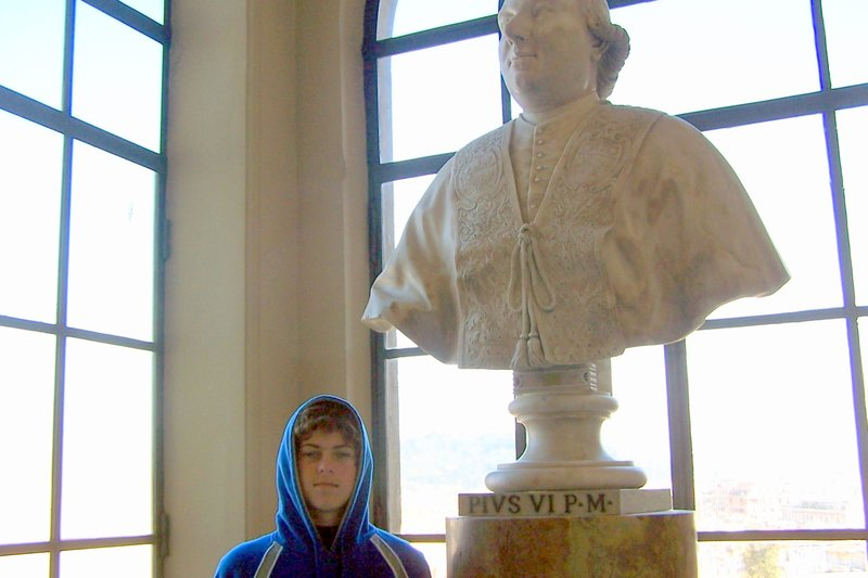 bust of a pope with my grandson
