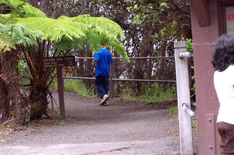 Grandson starts off on the Kilauea Iki Crater Rim Trail