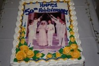 Cake with a photo of our wedding on it